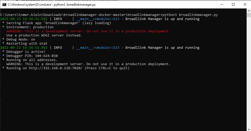 BroadlinkManager output - en.techblog.co.il - Tomer Klein